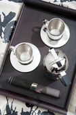 Silver set of coffee for two — Stock Photo
