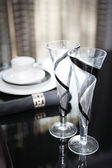 Diner table set with champagne glasses — Stock Photo