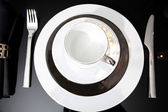 Festive diner table set with cutlery — Stok fotoğraf