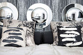 Designer hotel bedhead — Stock Photo