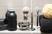 Man exclusive grooming and shaving kit — 图库照片