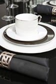 Serving set of plates and cup — Stock Photo
