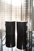 Two luxury black tea mugs — Stock Photo