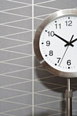 Metalic silver standing clock — Stock Photo
