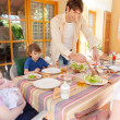Family of five gathering have lunch — Stock Photo