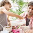 Dad with his son together in a home kitchen — Stock Photo #48322251