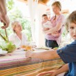 Family have lunch in the home — Stock Photo