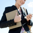 Businesswoman using smartphone — Stock Photo