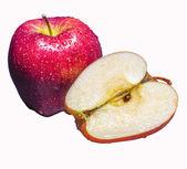 Czerwone jabłko świeże z kromka — Zdjęcie stockowe