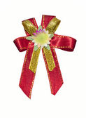 Red ribbon with flower on white — Stock Photo