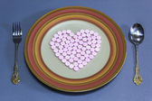 Heart pills for health — Stock fotografie