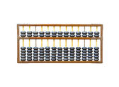 Old wooden abacus on white — Stock Photo