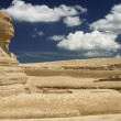 Symbol Egypt's - Sphinx with summer blue sky and clouds in Giza - Stock Photo
