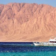 Stock Photo: Egypt Nuweib- beach with mountains and boats at Reds sea