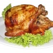 Tasty Crispy Roast Chicken on white plate — Stock Photo