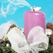 Christmas wreath - end flame candle — Stock Photo