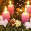 Christmas wreath with violet candles — Foto de Stock