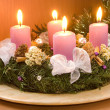 Christmas wreath with violet candles — 图库照片