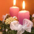 Christmas wreath with violet candles — Stock fotografie