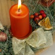 Wreath from fresh twigs and cones with one candle — Stock Photo