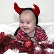 Adorable baby dressed up like a devil — Stock Photo