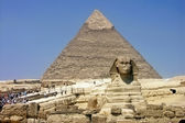 Khafra's Pyramid and Sphinx of Giza — Stock Photo