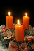 Wreath from fresh twigs and cones with four candle — Stock Photo