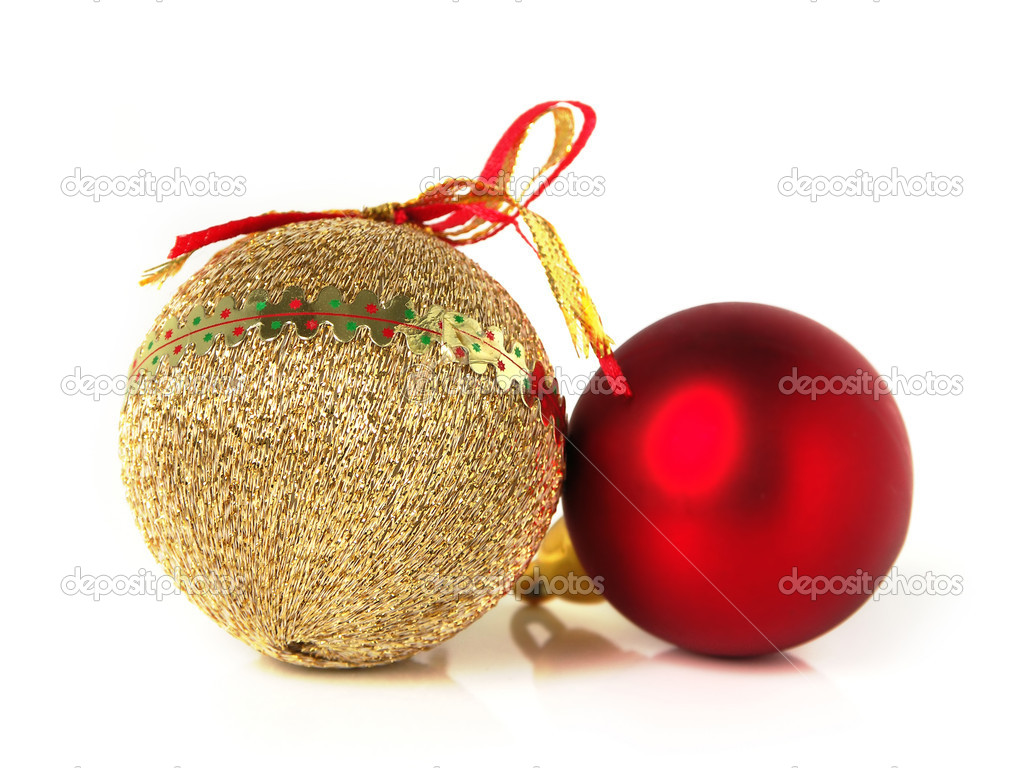 Christmas Ornaments Red And Gold : Red and gold christmas decorations stock photo
