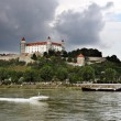 Castle nera the  river Dunaj and motorboat - Stock Photo