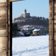 View from  window on winter landscape - Stock Photo