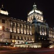Vaclavske square with National Museum and Wenceslas' statue in night - Стоковая фотография