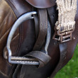 Horse brown leather saddle - Stock Photo