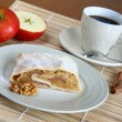 Cup of coffee with apple strudel — Stock Photo