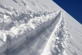 Ski trail in the white snow — Stok fotoğraf