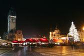 Staromestske square with Christmas trade — Stock Photo