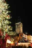Staromestske square with christmas tree — Stock Photo