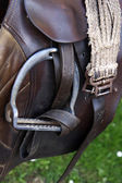 Horse brown leather saddle — Stock Photo