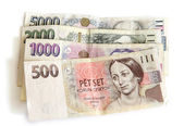 Old and new Czech money — Stock Photo
