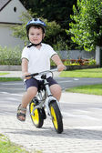 Baby boy on traffic playground for childs — Stock Photo