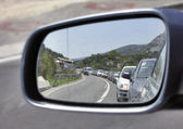 Reflection of a traffic jam — Stock Photo
