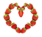 Corazón de fresa — Foto de Stock
