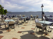 Terrace in hotel Zora with Adriatic sea — Stock Photo