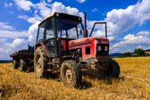 Red old tractor in summer on field — Stock Photo