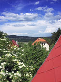 Czech summer landscape with cottages and blue sky — Stock Photo