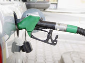 Refilling the car with a gas pump — Stock Photo