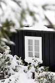 Detalle de una cabaña de madera negra en época de invierno con una ventana blanca — Foto de Stock