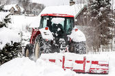 Czech Republic Mountains Jizerske Hory Snowblower On Road In Bedrichov — Stock Photo