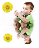 Little boy using inhaler for asthma isolated on white background — Stock Photo