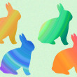 Stock Photo: Rainbow bunnies