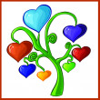 Hearts tree. Vector illustration. Isolated on white. — Stock Vector